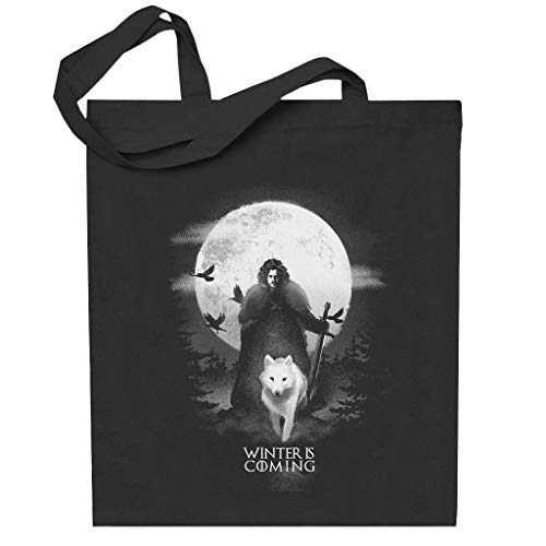 Game Of Thrones Moonlight John Snow And Ghost Totebag