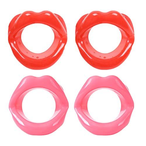 SUPVOX 4 Stücke Silikon Gesicht Schlanker Gesichtstrainer Gesichtsformer Lippen Trainer Gummi Anti Falten Anti Aging Mund Muskeltrainer für Facelift Lächeln Trainer