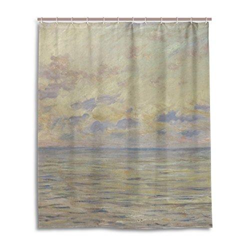 WIHVE Shower Curtain Monet's Marine Near tretat Polyester Fabric Curtains Bathroom Decor Set with