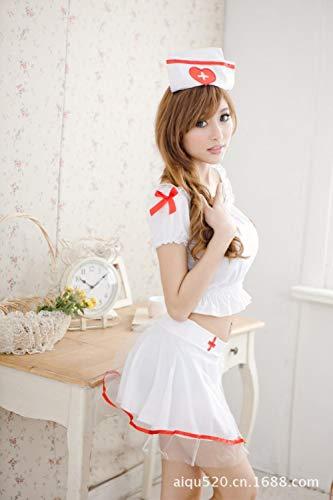 MEN.CLOTHING-LEE Unterwäsche & Dessous für Damen Erotische Kostüme für Damen Frauen sexy Dessous Sweet Cute Split Krankenschwester Kleid DOS Kostüm Uniform Verlockende Krankenschwester Cosplay-Weiß