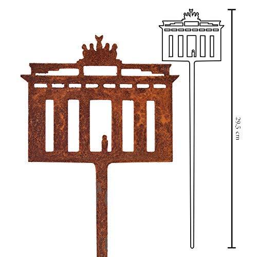 Galionsfigur Brandenburger Tor | Designer Blumenstecker Edelrost - Deko, 30cm hoch, Berlin Souvenir, Mitbringsel, Gastgeschenk,Made in Germany