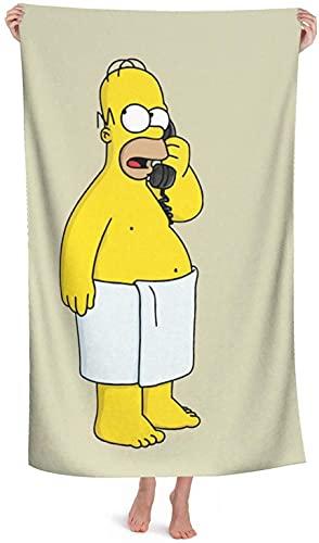 XBBAO The Simpsons Homer Simpson Toalla de playa, 3D Anime Toalla de playa, Toalla de piscina, Toalla de secado rápido de dibujos animados