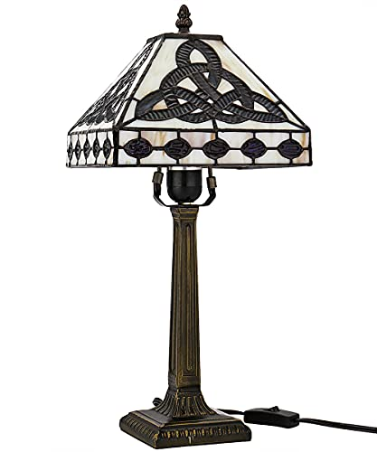 Celtic Lamp Stained Glass Table Lamp Style Art Glass Desk Lamp St Patrick's Day Decoration 18 Inches Tall 8.50 Inches Wide Lamp Beside Lamp 1 Bulb Antique Zinc Base for Living Room Bedroom Kitchen