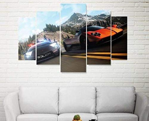 ELSFK Wall art canvas 5 Piece Wall Art Picture Need For Speed Prints On Canvas Pictures For Home Modern Decoration HD Print Decor For Living Room,bedroom etc wall Decoration 150cm x 80cm