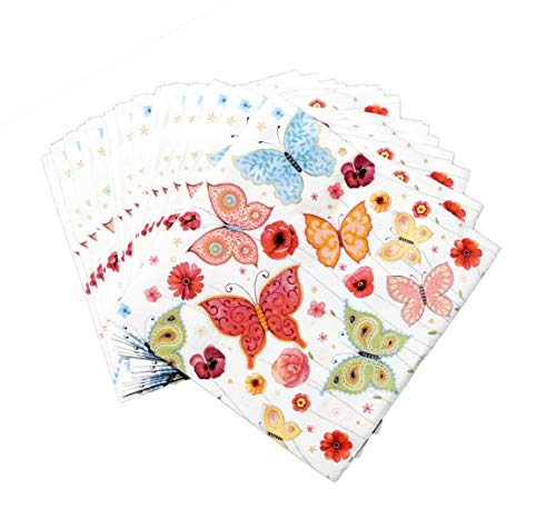 artwelten Servietten Schmetterling – Serviette Sommer 40 Stck – 3 lagige Servietten für Feste oder Feiern - Bunte Tischdeko