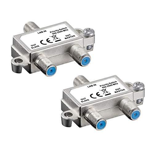 2X SAT Schalter | Vorrang Schalter | verteilt/schaltet 1 LNB auf 2 SAT-Receiver | Verteiler für Satelliten-Anlagen | Kupplung Switch Splitter Koaxial | LNB Master Slave Ausgang | HDTV | 2 Stück