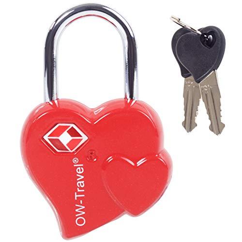 TSA Approved Luggage Locks Padlocks (1 Pack) OW-Travel Heart Shaped Valentine Suitcase Locks with Keys. Zinc Alloy Suitcase Padlocks with Key Lock for Luggage, Bag, Case, Backpack, Gym Locker (Red)