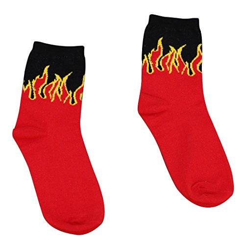 ZENUTA Hip Hop Design Red Flame Muster Crew Socken Klassische Baumwolle Lange Socke