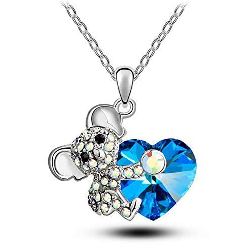 Collar de oso de corazón azul precioso colgante de forma de dibujos animados para mujeres y niñas