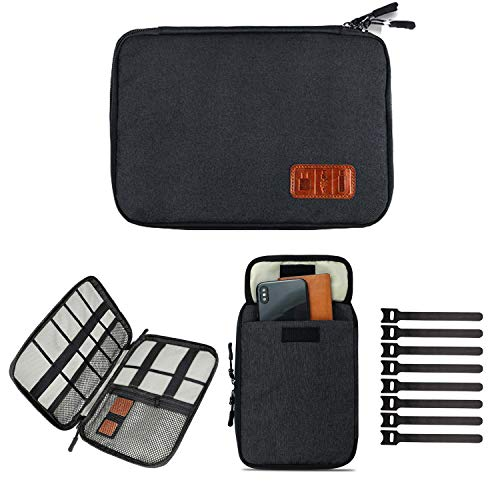 Cable Organizer Bag Travel Electronics Accessories Carry Case Portable Cord Organizer Bag for USB Cable Cord Pen Hard Cables Earphone Ipad iPhone with 8 Cable Ties (Up to 7.9)