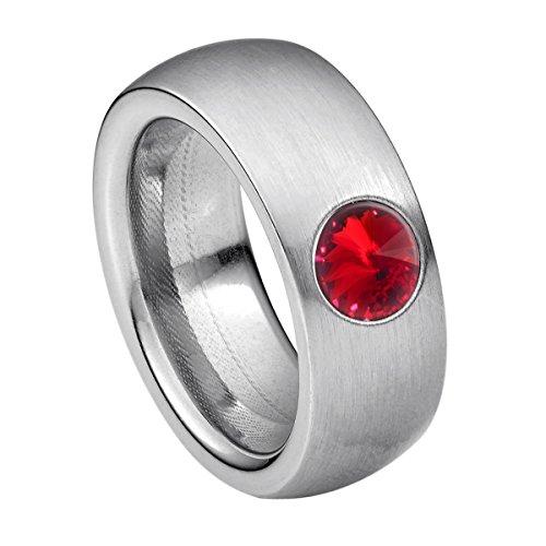 Heideman Ring Damen Coma 8 aus Edelstahl Silber farbend matt Damenring für Frauen mit Swarovski Stein Kristall siam rot im Fantasie Edelsteinschliff 6mm