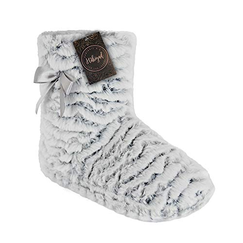 Habigail Indoor Outdoor Ladies Slipper Boots for Women Knitted Womens Booties Gift Non-Slip Sole (5-6 M UK (38-39 EU), Grey)