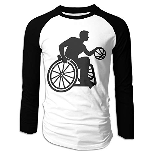 BEST&&SHIRT Mens Wheelchair Basketball Cotton Crew Neck Long Sleeve Raglan Sports Baseball Tops Tee S-XXL Black