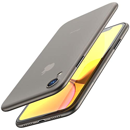 TOZO for iPhone XR Case 6.1 Inch (2018) Hard Cover [0.35mm] Worlds Thinnest Protect Bumper for iPhone XR [ Semi-Transparent ] Lightweight [Matte Finish Black]