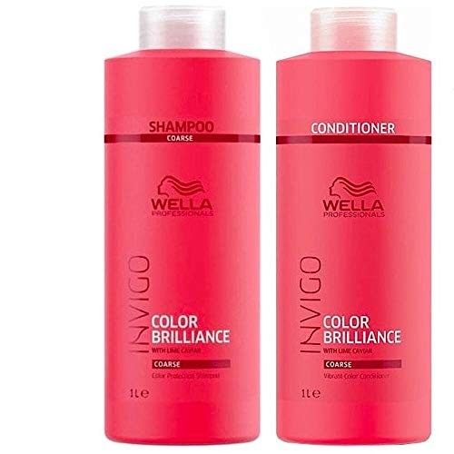 Wella Professionals Brilliance Duo Farb-Shampoo 1000ml und Conditioner 1000ml für sprödes, dickes Haar