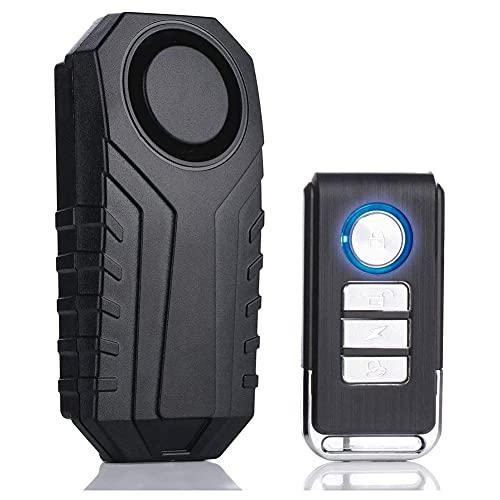 Nrpfell Alarma de Bicicleta 113DB Sensor de Movimiento de VibracióN InaláMbrico Alarma de Motocicleta Impermeable con Control Remoto