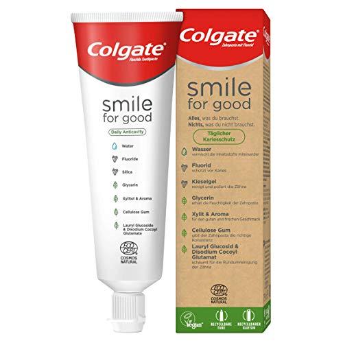 Colgate Zahnpasta Smile for Good Täglicher Kariesschutz, 1 x 75 ml - Zahncreme für Rundumschutz der Zähne, vegan, recycelbare Tube und Kartonverpackung