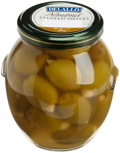DeLallo Almond Stuffed Olives 7Ounce Jars Pack of 6