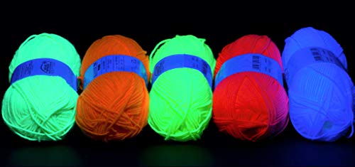 NEON UV Wolle Set 10x 50g (je Farbe 2x weiß,gelb,grün,pink,orange)