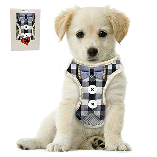 Bark Lover Small Puppy Harness with Bowtie, Adjustable Dog Vest Mesh Tuxedo Harness for Small Dog Kitten, Perfect for Party Wedding Holiday (M, Blue Plaid)