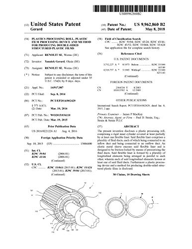 Plastics processing roll, plastic film processing device and method for producing double-sided structured plastic films: United States Patent 9962860 (English Edition)