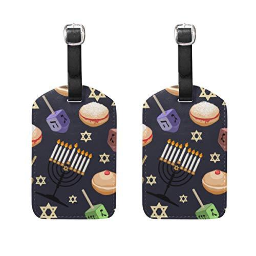 VORMOR Gepäckanhänger (Sortiert, 2 PK),Nahtloses Muster-traditionelle Symbole Chanukka jüdisch, Gepäckanhänger, Kofferanhänger für Rucksäcke