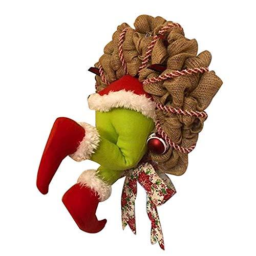 EIIUHIAHS Grinch Weihnachten deko,Wie der Grinch Weihnachten Sackleinen Kranz Dekorationen Super Süße und Schöne Tolle Geschenke für Freunde Girlande Kranz Weihnachten Gestohlen (16 inch)