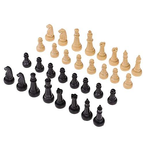 Jixista Schachfiguren International Chess Set 32 Standard chachfiguren Ersatz Turnier Schachfiguren mit Königen Königinnen Burgen Ritter für Kinder Teenager Erwachsene