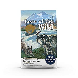 Taste of the Wild Pacific Stream Canine Grain-Free Recipe with Smoked Salmon Dry Dog Food, for Growing Puppies, Made with High Protein from Real Salmon 14lb