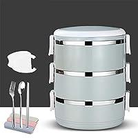 ステンレス鋼絶縁弁当,漏れ スプーン付き積み重ね可能なお弁当箱,大人と子供のためのフォークランチコンテナ-i 20x15cm(8x6inch)