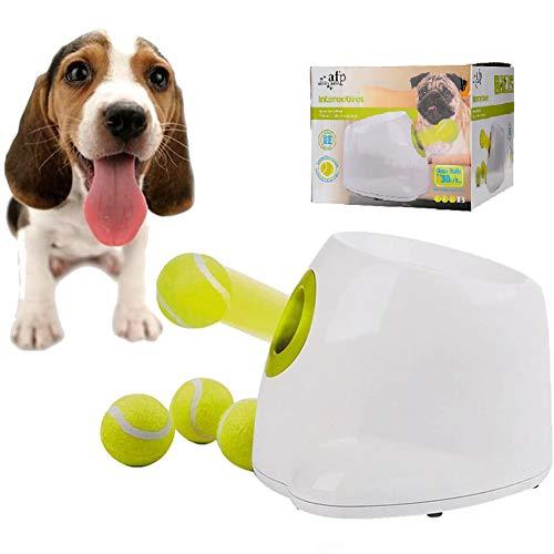 Lanzador automático de pelotas de tenis, mini máquina de lanzamiento interactiva de juguetes para perros para entrenamiento y juego de perros, 3 tipos de distancia de proyectil, 3 pelotas incl