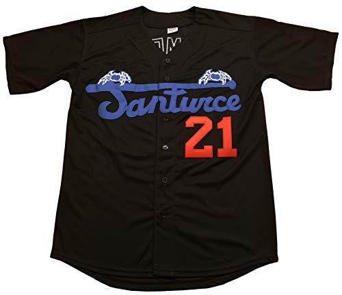 Clemente #21 Santurce Crabbers Puerto Rico Baseball Jersey Men (Black, Medium)