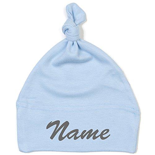 Schnoschi Babymütze in hellblau mit Namen hochwertig Bestickt/gestickt