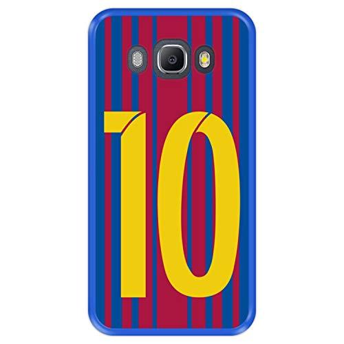 Hapdey Funda Azul para [ Samsung Galaxy J5 2016 ] diseño [ Ilustración fútbol, número 10 ] Carcasa Silicona Flexible TPU