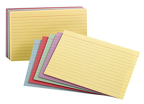 """Oxford Ruled Color Index Cards, 4"""" x 6"""", Assorted Colors, 100 Per Pack (34610)"""