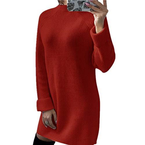 N\P Mujeres Invierno Caliente Cuello Alto Suéteres Vestido De Punto Femenino Larga Navidad Jerséis Slim Patchwork Punto Mini