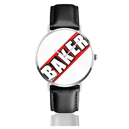 Armbanduhr Quarzuhr Baker Skateboards Freizeituhren mit schwarzer Lederuhr