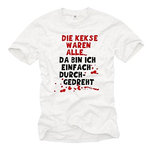 MAKAYA Camiseta con Frases Aleman - Me he Vuelto Loco - Porque Las Galletas Estaban vacías - XXXL