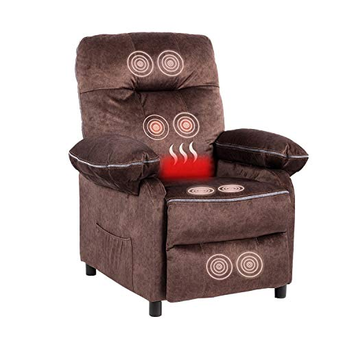 Blue Whale Fabric Recliner Chair for Living Room Adjustable Home Theater Single Massage Recliner Sofa with Thicken and Widen Armrest Pad