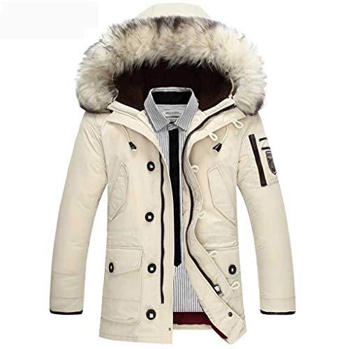 Hyvaluable Herren Jacken Kleidung Jacken dick halten warme Männer ist Daunenjacke hochwertige Pelzkragen mit Kapuze Daunenjacke Winter Mantel männlich (Farbe : Weiß, größe : L)