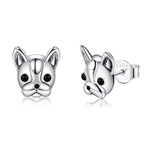 925 Sterling Silver Bulldog Dog Animal Small Stud Earrings For Women Black Earring Silver 925 Jewelry