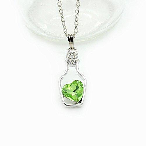 Collar De Botella De Cristal De Amor, Botella De Deseos, Botella Flotante, Cadena De Clavícula, Aurora Fangtang Verde 9296
