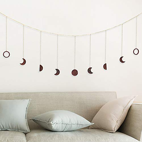 OCIOLI Moon Phase Garland with Chains Boho Hanging Ornaments Moon Hang Art Room Decor for Wedding Home Office Nursery Room Dorm