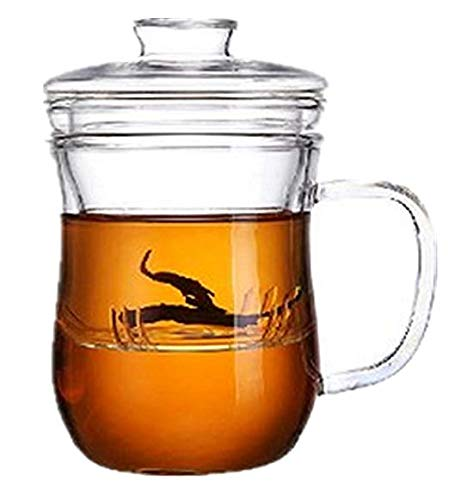 Moyishi Clear Glass Tea Cup Glass Infuser and Lid beauty Cup