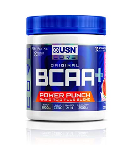 USN BCAA Power Punch, BCAA Powder with Vitamin B6 Intra Workout Amino Drink, Watermelon, 200 g