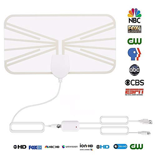 DFCHT TV Antenna, Indoor Digital HDTV Amplified Television Antenna Best 50 Miles Range Support All TV's 4K/VHF/UHF/1080P Free Local Channels, with Signal Booster