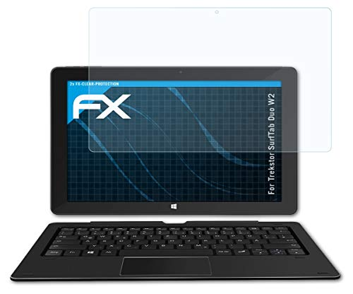 atFolix Schutzfolie kompatibel mit Trekstor SurfTab Duo W2 Folie, ultraklare FX Bildschirmschutzfolie (2X)