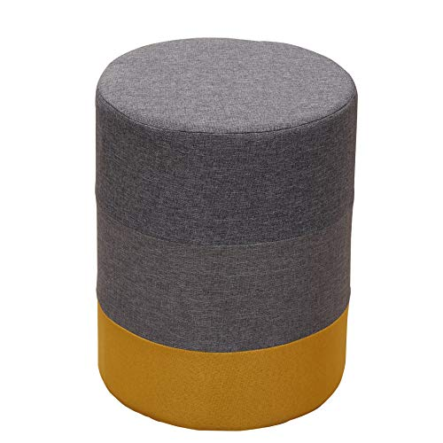 Rebecca meubels zitzak rond van hout en stof geel grijs moderne woonkamer slaapkamer - afmetingen 45 x 35 x 35 cm - art.nr. RE6292