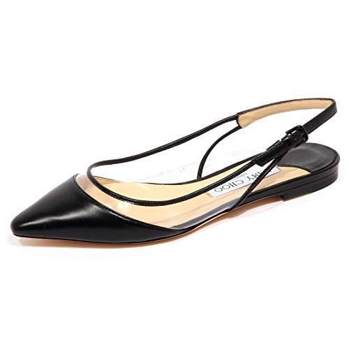 JIMMY CHOO F9454 Sandalo Donna Leather/plexi Erin Flat Black Shoe Woman [40]