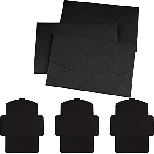 Sobres en negro, 50 unidades (160 x 105 mm ) Papel Kraft Retro Hecho a Mano,Tarjeta Postal Titulares de Fotos,Sobre de Boda,Invitación de Carta,para Sobres de Felicitaciones-250 g